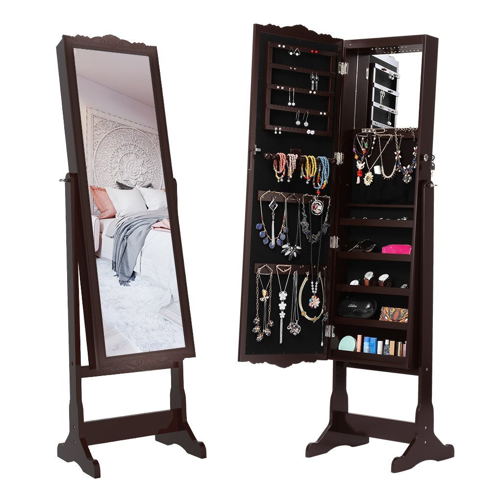 Jewelry Cabinet Armoire with Carved Design Inner Mirror & LED Lights