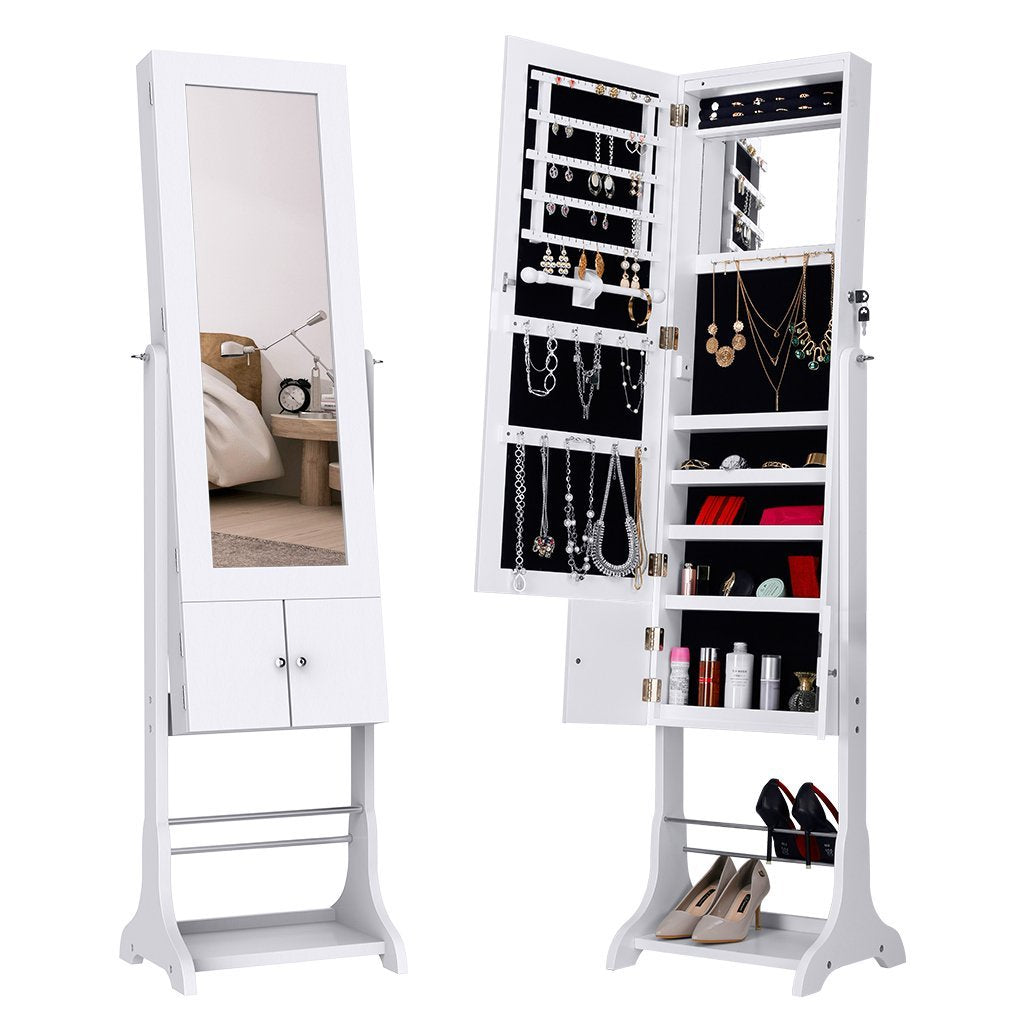 Jewelry Cabinet Armoire with Cupboard Shoe Rack & Inner Mirror