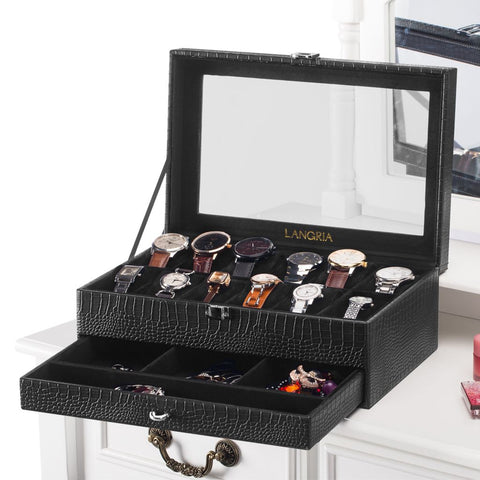 LANGRIA 12-grid leather jewelry display box