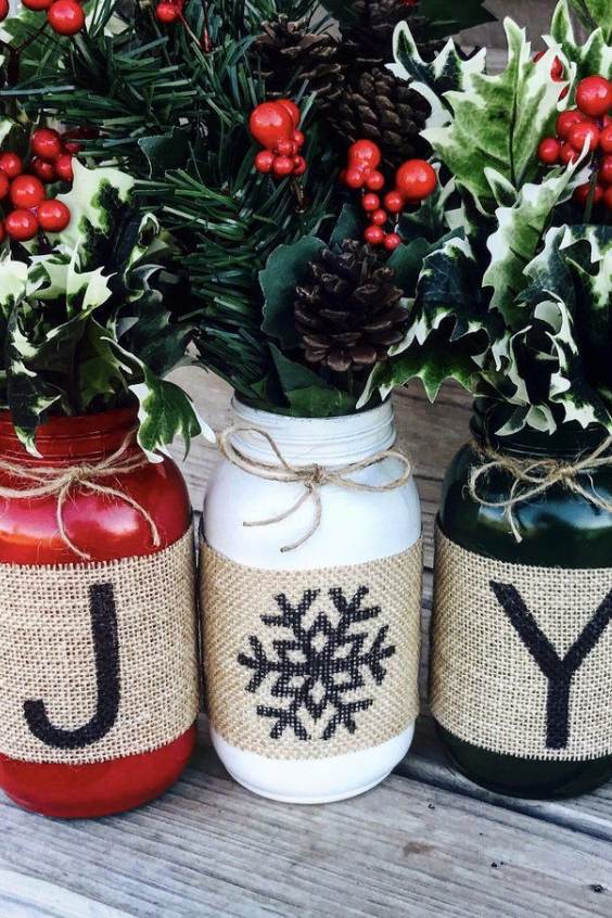 Mason Jar Christmas Gifts Flower Arrangement 2