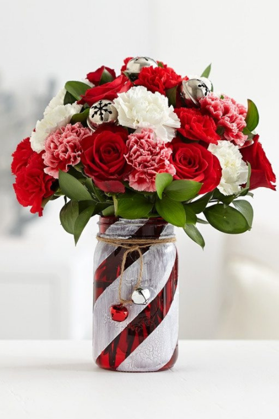 Mason Jar Christmas Gifts Flower Arrangements 1