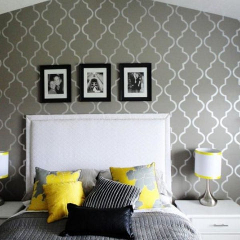stencil bedroom accent wall
