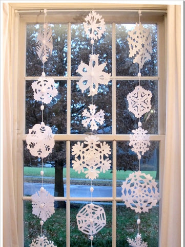 DIY snowflake curtains