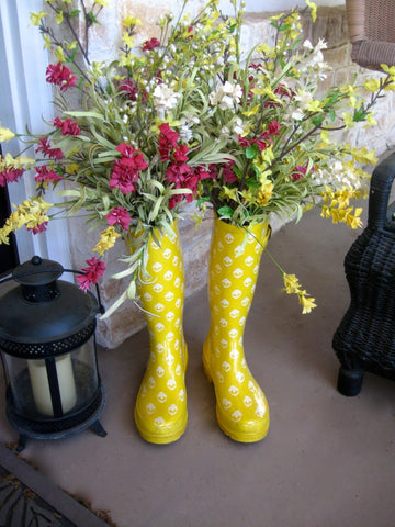 Rain Boot Flowers Porch Spring