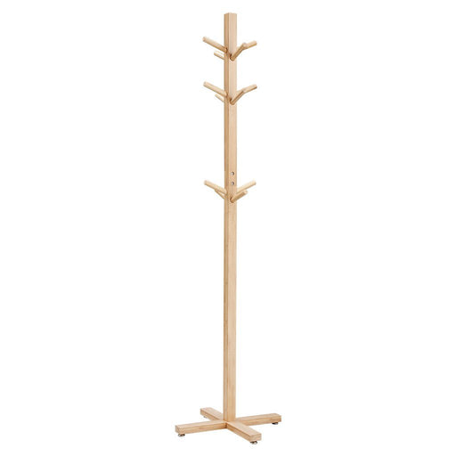 LANGRIA LANGRIA Coat Hook Bamboo Wooden Coat Rack and Hook Rack with 3 Tiers 12 Hooks and Solid Feet Hall Tree Coat Rack for Clothes Scarves and Hats, Bamboo Natural Color