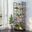 LANGRIA LANGRIA Industrial Ladder Shelf, 5-Tier Bookshelf, Storage Rack Shelves Organizer, Bathroom, Living Room, Study Room, Wood Look Accent Furniture Metal Frame. Antique Wood Design Shelving Unit