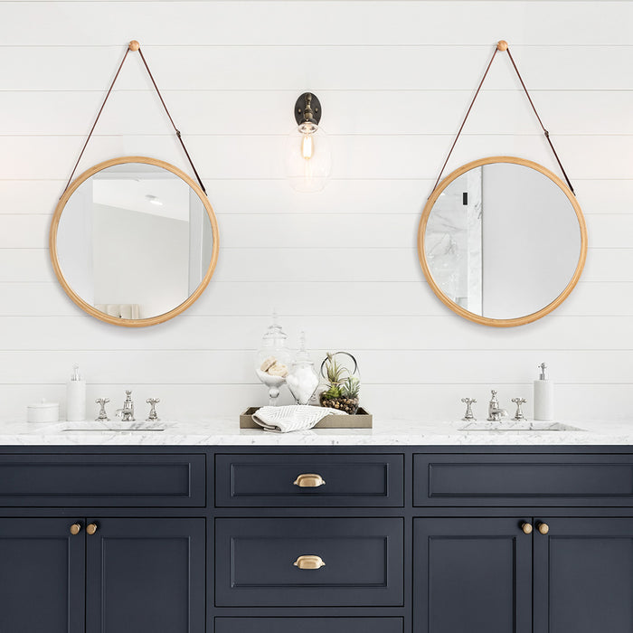 LANGRIA Wall Mirror with Natural Bamboo Frame Contemporary Design