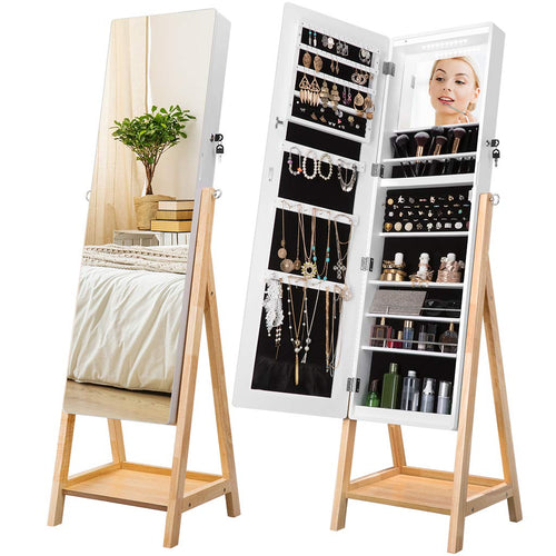 LANGRIA 10 LEDs Jewelry Cabinet Armoire with Full-Length Mirror
