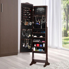 LANGRIA Jewelry Cabinet Armoire with LED Lights and Carved Design