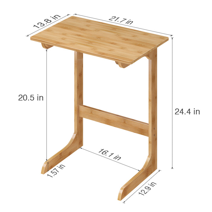 LANGRIA Bamboo Wood Side Table C Shaped Mini Occasional Table