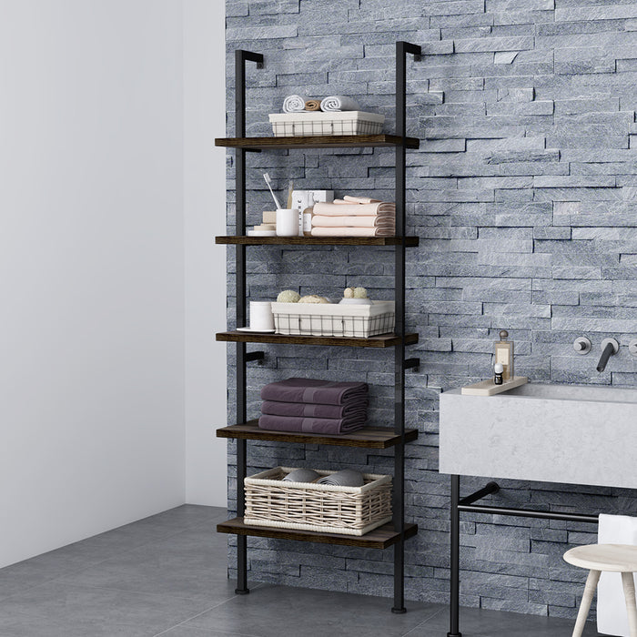 Industrial 5-Tier Ladder Shelf Bookcase, Wall-mounted Wood Shelves Bookshelf