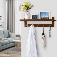 LANGRIA Wall-Mounted Bamboo Wooden Coat and Hat Rack