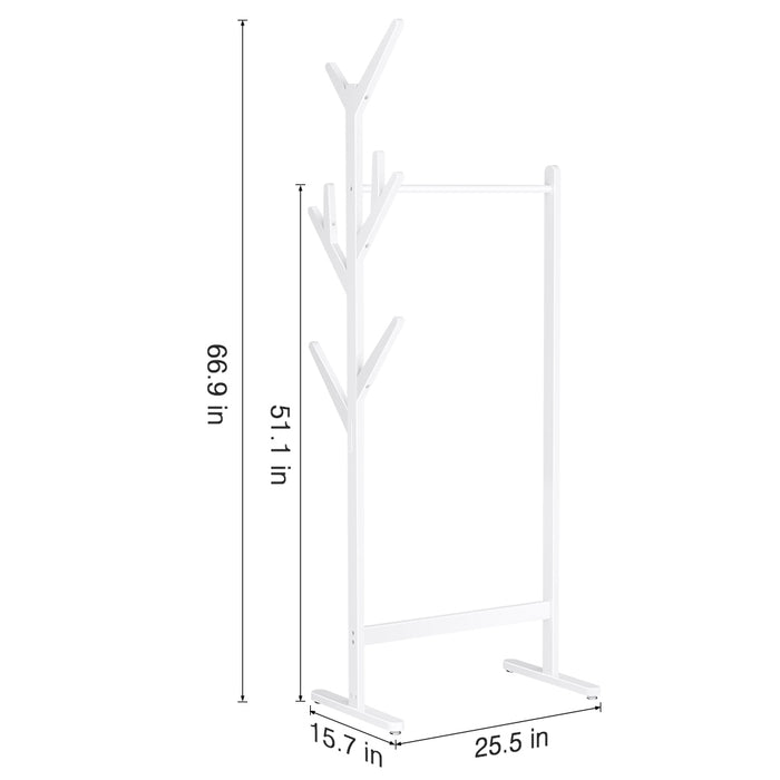 Single Rail Bamboo Garment Rack with 8 Side Hook Tree Stand Coat Hanger and Four Stable Leveling Feet for Jacket