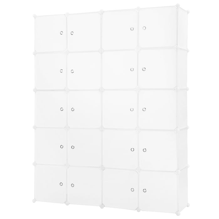 20-Cube DIY Interlocking Modular Shelving Storage Organizer Closet with Clothing Fashion Icon Stickers and Red Lip Stickers