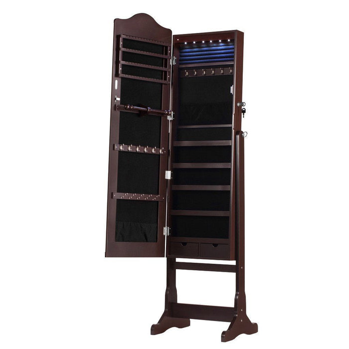 LANGRIA LANGRIA 6 LEDs Lockable Standing Jewelry Cabinet Full-Length Mirror Armoire and Storage Organizer with 2 Drawers