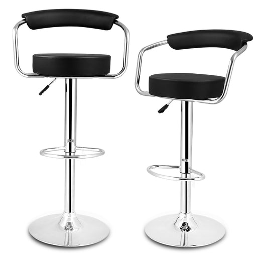 Set of 2 Gas Lift Height Adjustable Swivel Faux Leather Bar Stools Chairs with Open Back