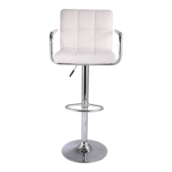 LANGRIA Modern Quilted Bar Stools Set with Faux Leather Exterior