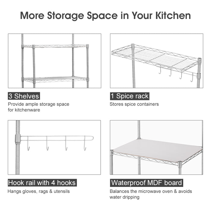 LANGRIA 3-Shelf All-Metal Microwave Shelving Unit