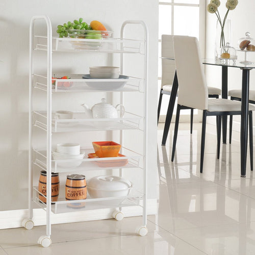 LANGRIA White 5-Tier All-Purpose Rolling Cart for Kitchen and Bathroom
