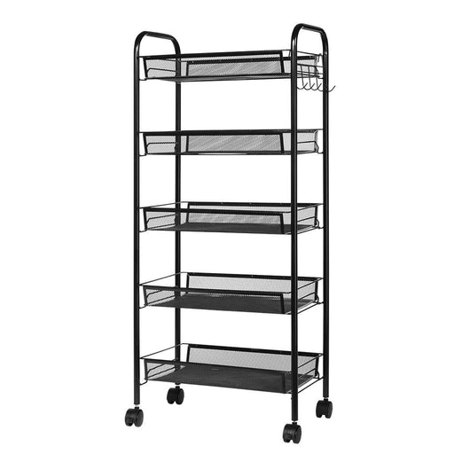 LANGRIA LANGRIA 5-Tier Basket Stand Kitchen Bathroom Trolley Full-Metal Rolling Storage Cart with Lockable Wheels 5 Side Hooks and Shelves Utility Mesh Wire 66 lbs. Weight Capacity (Black)