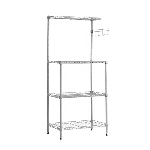 LANGRIA LANGRIA 3 Tier Microwave Stand Storage Rack, Kitchen Wire Shelving Microwave Oven Baker's Rack with Spice Rack Organizer, Silver Grey