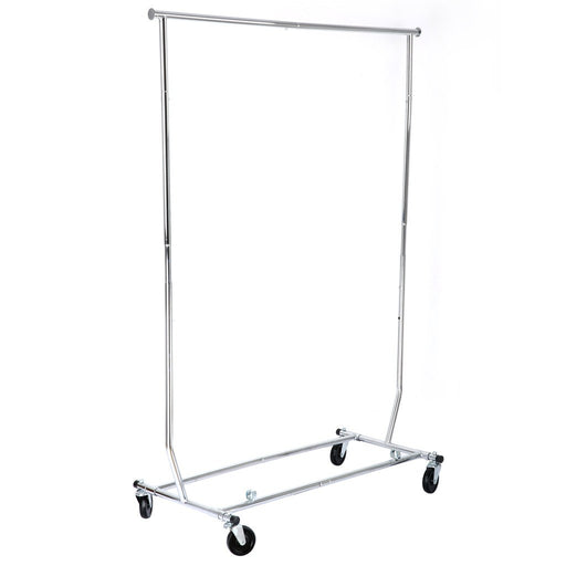 LANGRIA Collapsible Adjustable Single Rail Rolling Garment Rack, Chrome