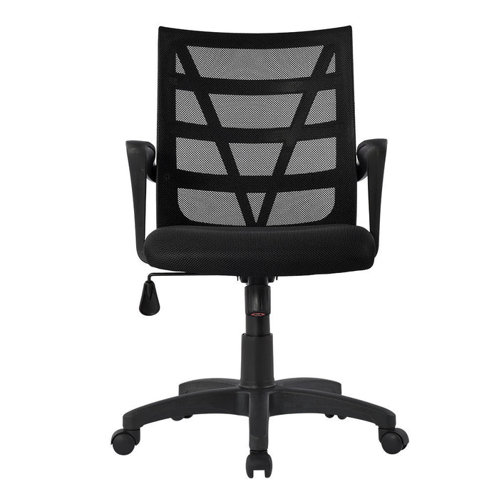 LANGRIA LANGRIA Comfortable V Shape Medium Back Mesh Home Office Desk Chair, Ergonomic Design, Mesh Upholstered Seat Pan, Tilt Mechanism, 360 Degree Swivel, Max Weight Capacity 130kg, Black Back