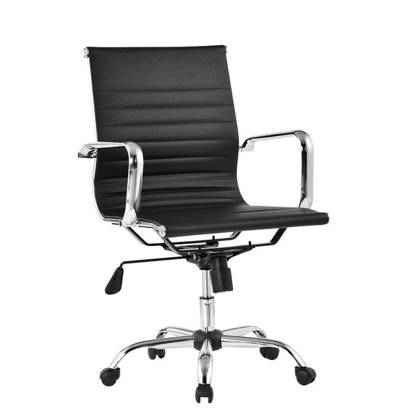 Medium Back Ribbed PU Leather Executive Chair