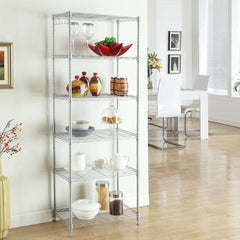 LANGRIA 6-Tier Classic Wire Storage Rack Shelving Rack Shelving Unit