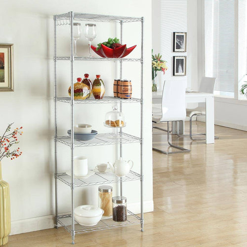 LANGRIA 6 Tier Classic Wire Storage Rack Shelving Rack Shelving Unit