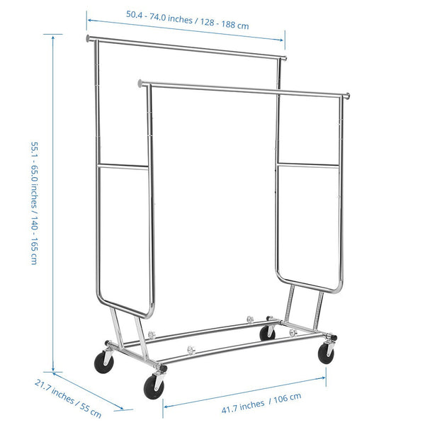 LANGRIA Collapsible Double Rail Rolling Garment Rack, Chrome
