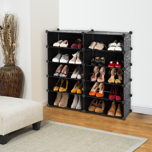LANGRIA DIY Curly Design Shoe Rack (Black & White)