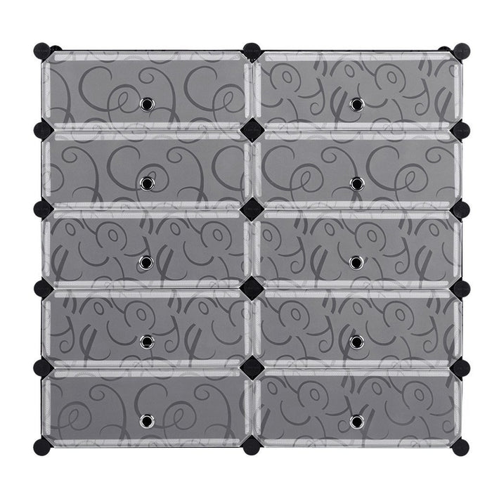 LANGRIA LANGRIA 18-Cube DIY Shoe Rack, Storage Drawer Unit Multi Use Modular Organizer Plastic Cabinet with Doors, Black and White Curly Pattern