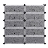 10-Cube Shoe Rack Curly Design, Black & White