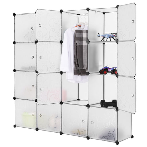 LANGRIA LANGRIA Modular Closet Organizer Plastic Cabinet, 16 Cube Wardrobe Cubby Shelving Storage Cubes Drawer Unit, DIY Modular Bookcase Closet System Cabinet with Doors for Clothes, Shoes, Toys, White