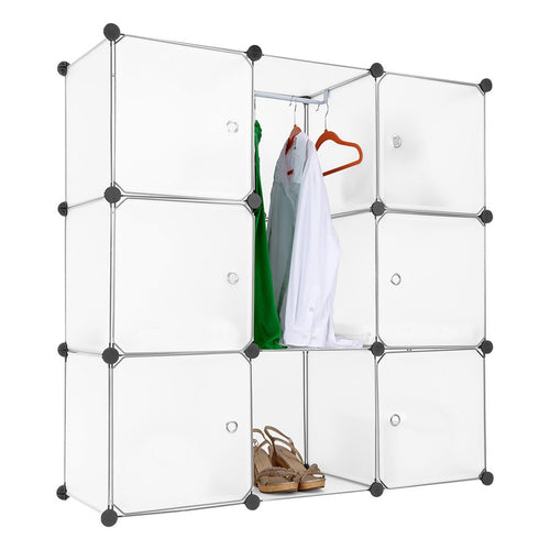 LANGRIA Modular Shelving Storage Organizing Closet with Translucent Doors