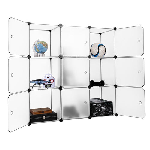 LANGRIA 9-Cube Modular Shelving Storage Organizing Closet with Translucent Doors