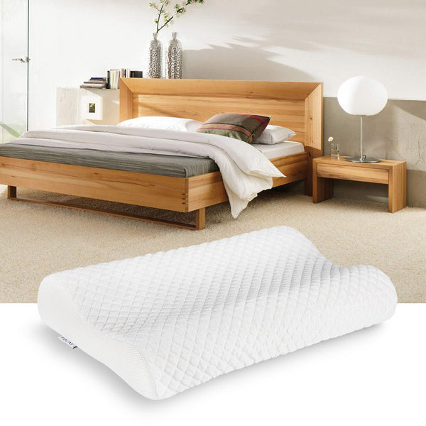 LANGRIA Contoured Icy Fabric Memory Foam Pillow, White