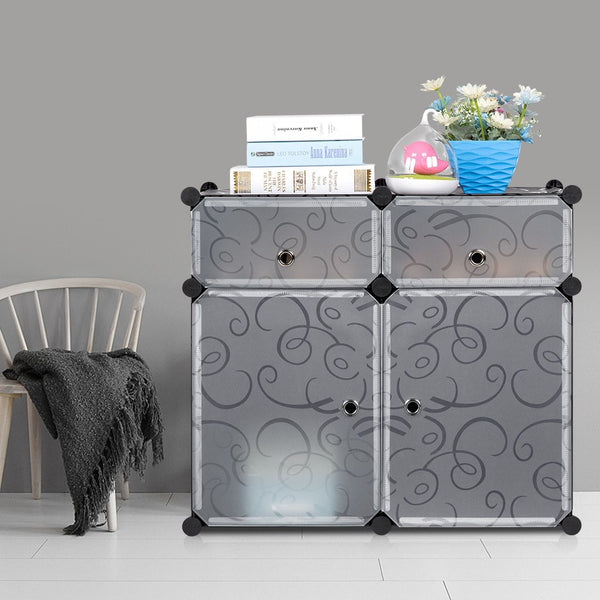 LANGRIA 4-Cube Shoe Rack Curly Design, Black & White
