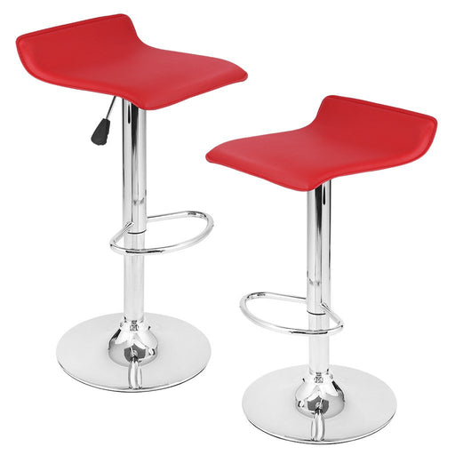 LANGRIA LANGRIA Manhattan Bar Stools Set Streamlined Leatherette Exterior, Adjustable Gas Lift, Chrome Plated Footrest Base Bar, Counter Home (2 PCS)