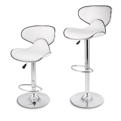 LANGRIA LANGRIA Shanghai Tall Bar Stools Set Leatherette Exterior, Adjustable Gas Lift, Chrome Plated Footrest Base Bar, Counter Home (2 PCS, White)