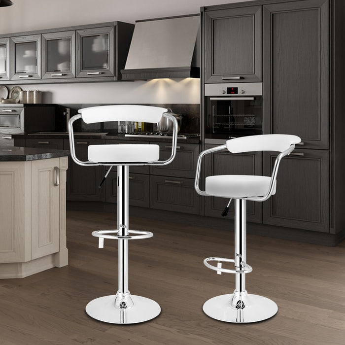 Set of 2 Faux Leather Kitchen Breakfast Bar Stool with Back Support  Armrests Adjustable Height