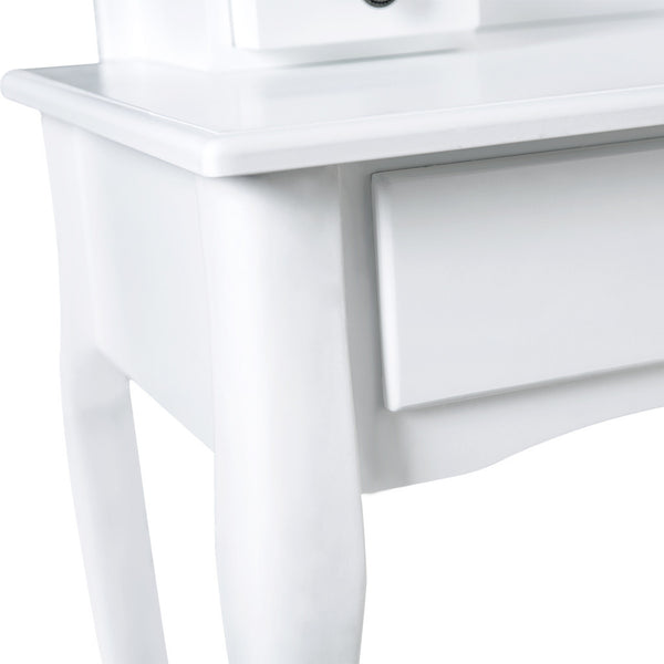 LANGRIA Vanity Table and Stool, Oval Mirror, 3 Drawers, White