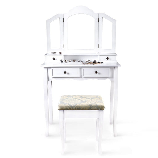 LANGRIA Vanity Makeup and Dressing Table with Tri-Fold Mirror