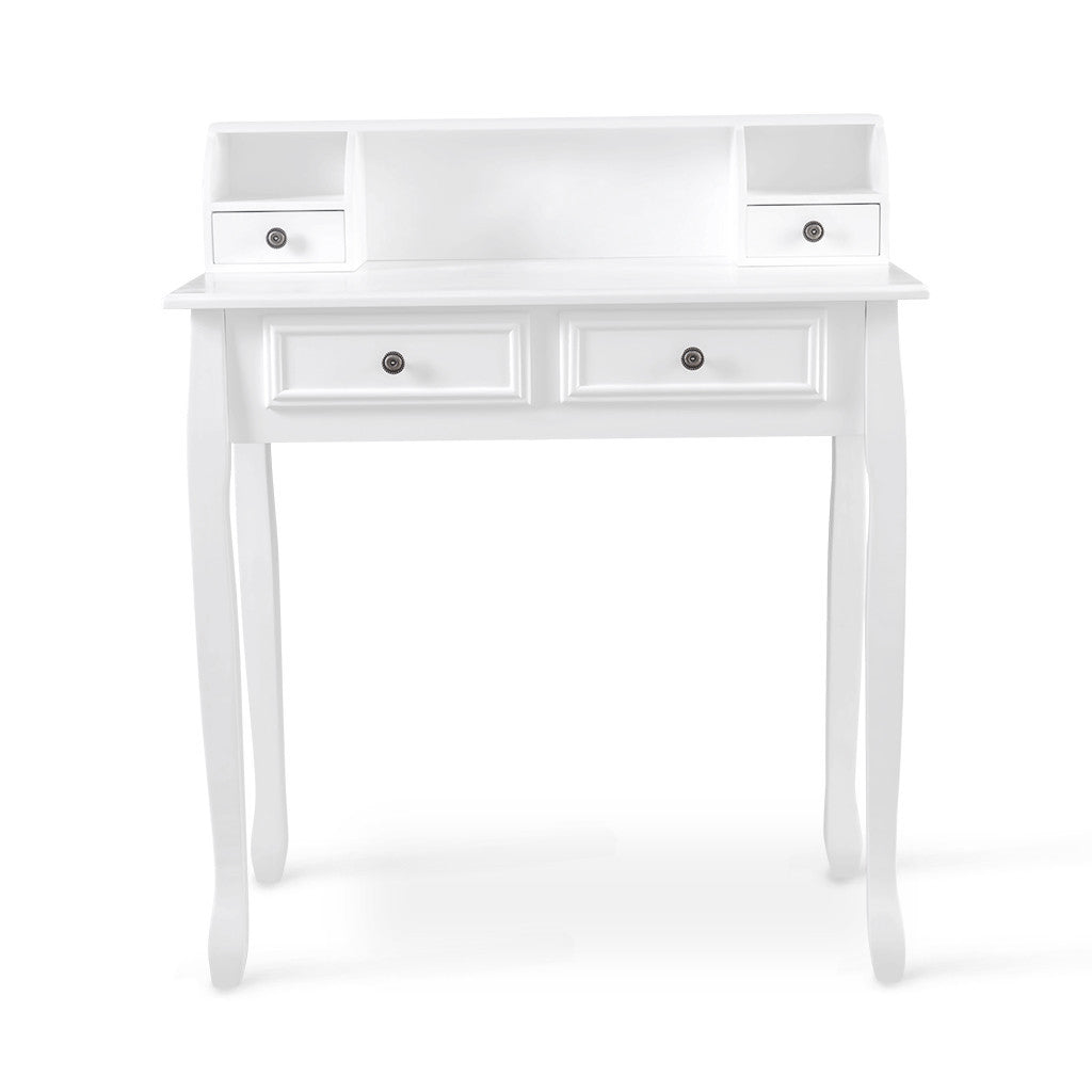 vanity table with drawers no mirror. Vanity Table  4 Drawers 3 Open Compartments White No Mirror Stool