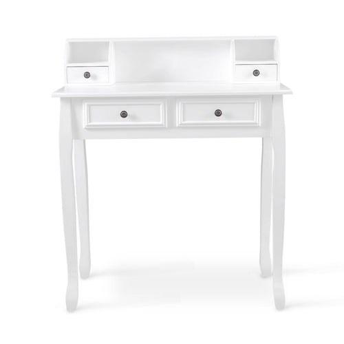 LANGRIA Vanity Table, 4 Drawers, 3 Open Compartments, White (No Mirror/Stool)