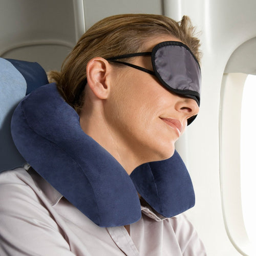LANGRIA U-Shaped Memory Foam Neck Pillow, Blue