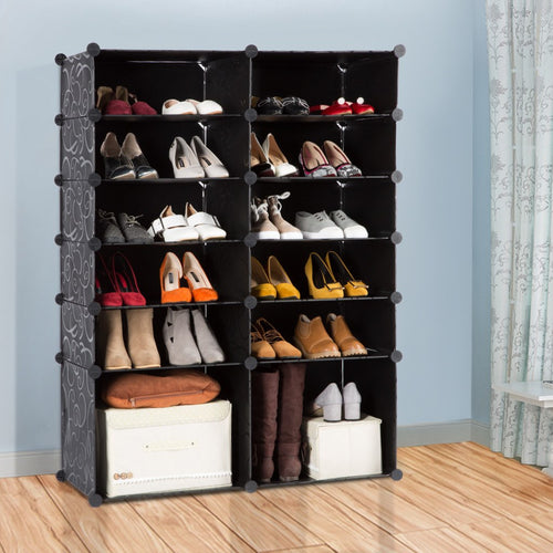 LANGRIA 12-Cube Shoe Rack Curly Design, Black & White