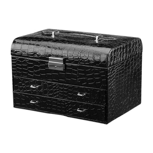 LANGRIA Rectangular Crocodile Grain Faux Leather Patterned Jewelry Box