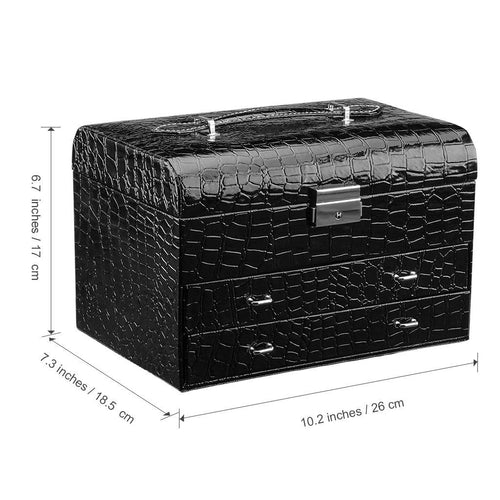 Rectangular Crocodile Grain Faux Leather Patterned Jewelry Box